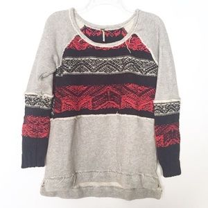 Free People Aztec Mixed Fabric Sweatshirt